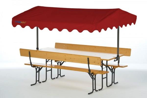 Tentastic Bierbanküberdachung Solakite 220 Rot, Überdachung für Ihre Standard-Biergarnitur 220 cm