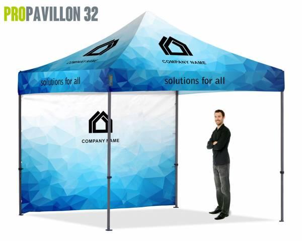 ProPavillon 32 - Faltpavillon 3x3m bedruckt inkl. Rückwand