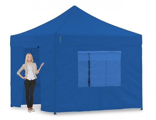 Blaues Faltzelt 3x3m Pavillon-Set Pavillon oder Faltpavillon, mit Seitenteilen