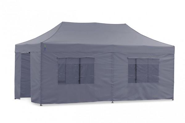 Tentastic Faltzelt Seitenteil-Set 3x6 m Grau für Faltpavillon u. Pavillon Polyester