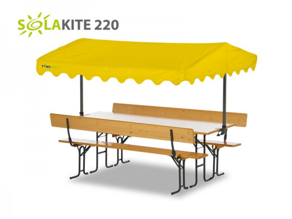 Tentastic Bierbank Überdachung Solakite 220 Gelb - der Sonneschutz für Ihre Standard-Biergarnitur